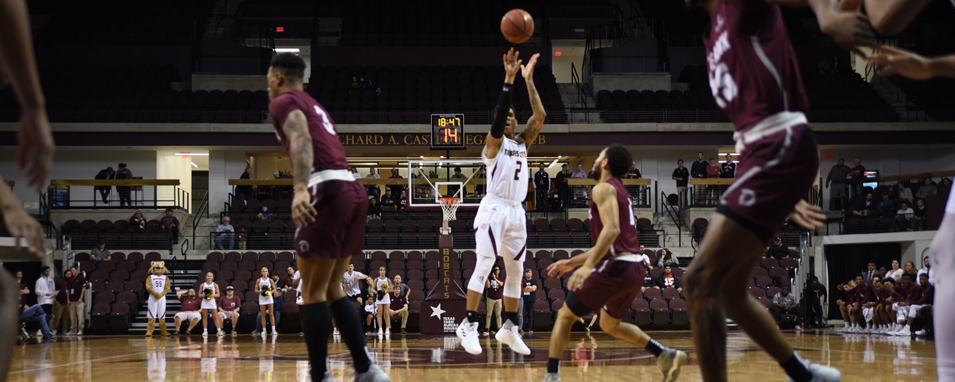 Texas State Men's basketball player Tre Nottingham for three