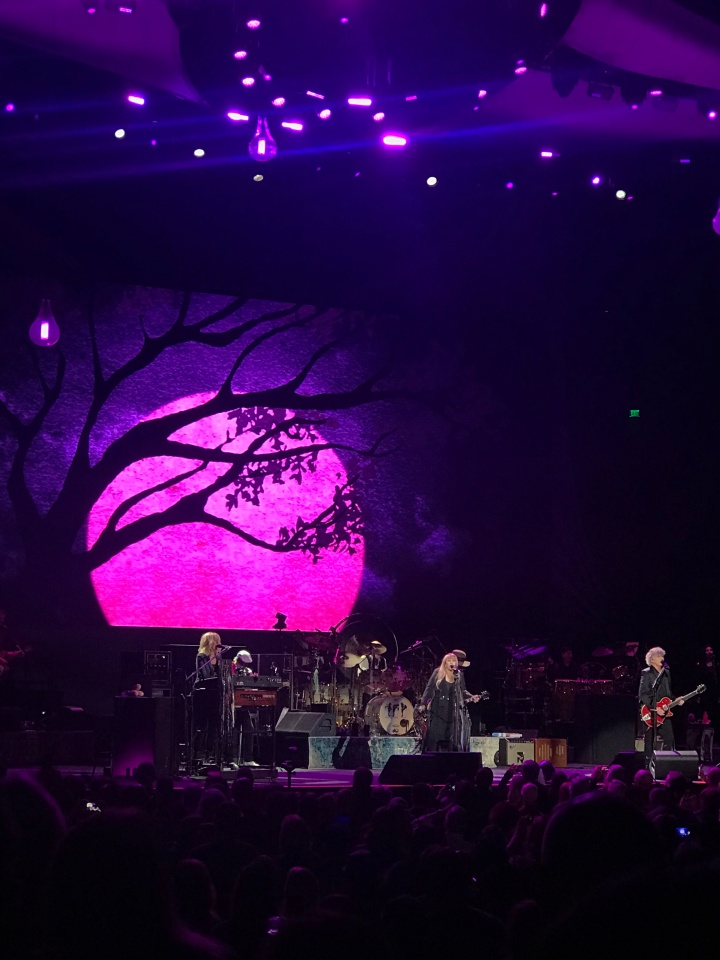 The background screen is pink with a silhouette of a tree. Stevie Nicks is in the middle singing, to her left Christine McVie plays the keyboard, and to her left Neil Finn plays guitar.