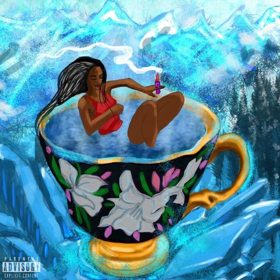 The cover illustrates a woman laying in a filled teacup holding lipstick between two fingers that appears to be lit and is being used as a metaphor for a cigarette.