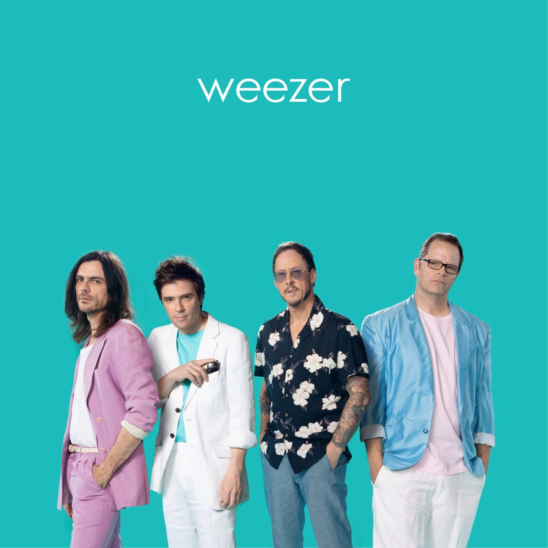 The band Weezer stands in front of a teal background dressed in 80's attire