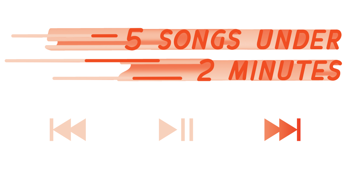 The title of the article, 5 songs under 2 minutes, above a music player with some motion blur effect
