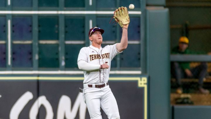 Will Hollis had a great offensive game against the Roadrunners, and he is making the catch on a fly ball here.