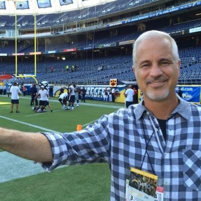 This selfie was taken by Chuck Miketinac on site at a then-San Diego Chargers football game