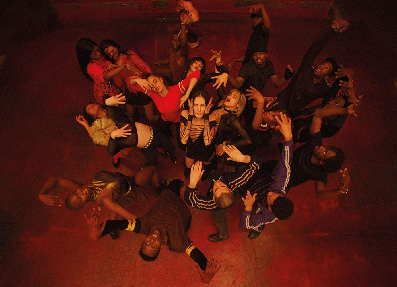 The image features a close aerial shot of the dancers mid-rehearsal in Gaspar Noé's film, Climax. A dancer is performing in the center as the rest of the group flails and dances around her.