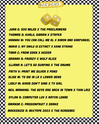 "A yellow pair of mirror dice on a rearview mirror with the phrase ""Day Drive"" on a yellow background with the names of the music journalists and their song choices down the page"