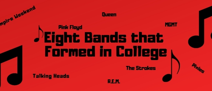Red background, with black text of the article title and bands listed.