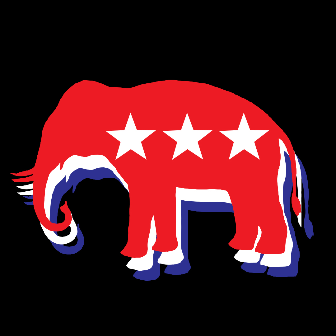 An image of the republican party elephant layered with three different colors, top color is red, than white than blue.