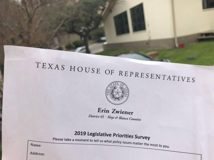 """a piece of paper outside that reads """"Texas State House of Reps"""""""