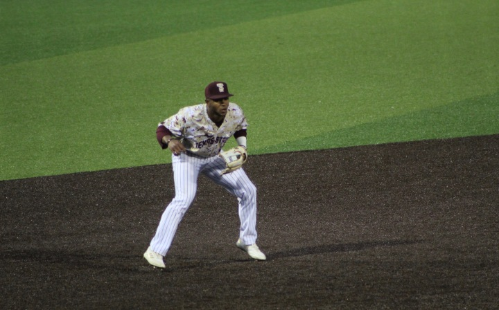 Jaylen Hubbard Texas State baseball player playing third base