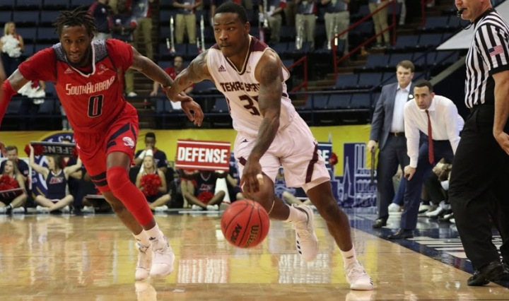 Jaylen Shead drives by a South Alabama defender to the hoop in the quarterfinal round of the Sun Belt Conference championship.