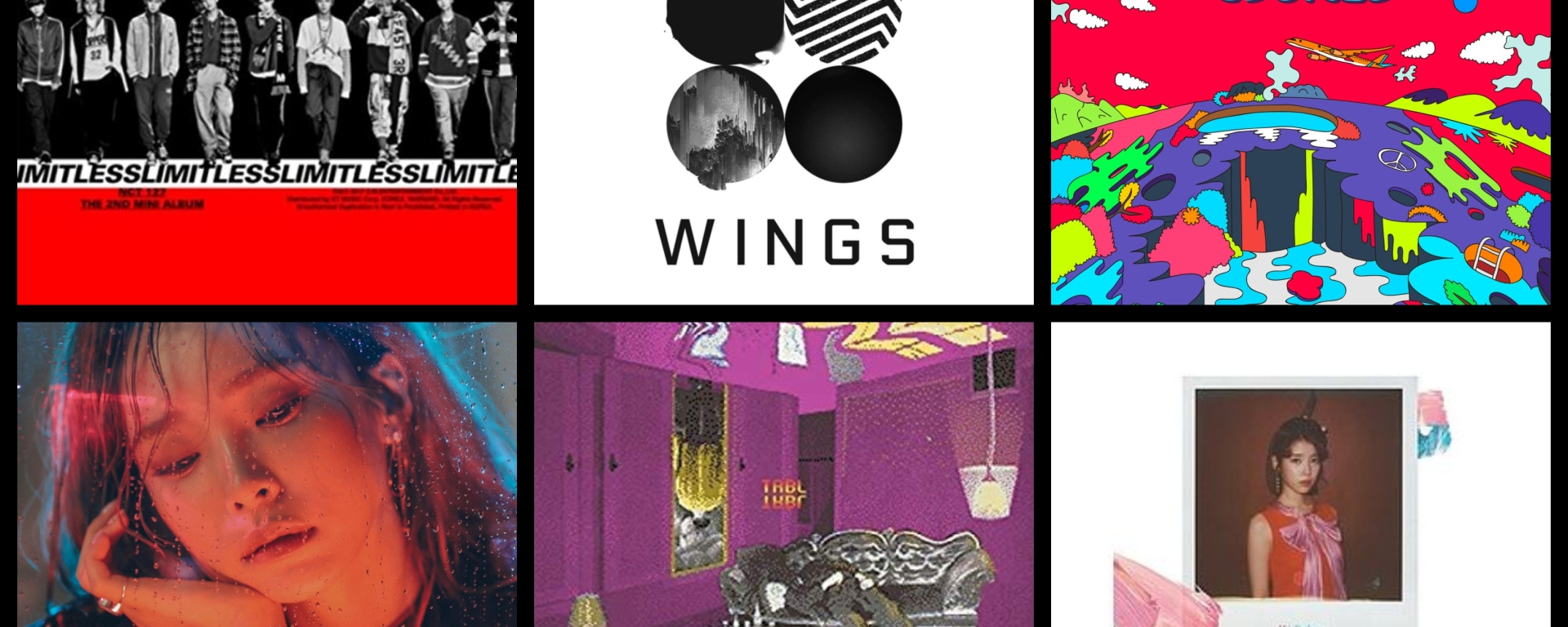 Six album covers of Korean pop albums in a grid.
