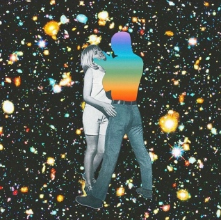 A man whose torso is cut out and replaced with rainbow ombre holding a woman against a galaxy background.