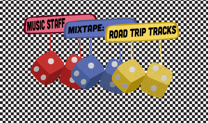 "Three pairs of mirror dice in red, yellow, and blue with the rearview mirror and the phrase ""Music Staff Mixtape: Road Trip Tracks"" on a black and white checkered background"