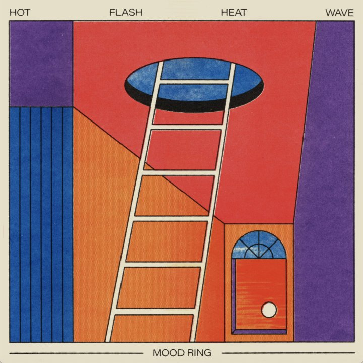 The album cover is colorful, minimalistic picture of a ladder leading up to an open hole in the ceiling