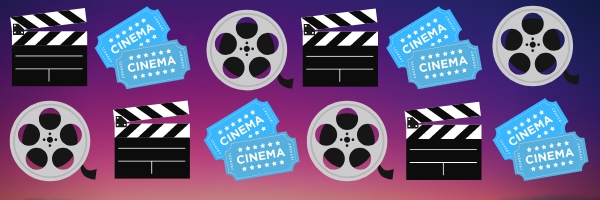 purple gradient background with black movie camera, blue movie tickets, and gray film spools in two rows