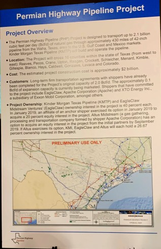 A poster containing the permian highway project overview