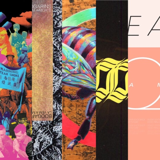 Colorful album art of bands listed in article