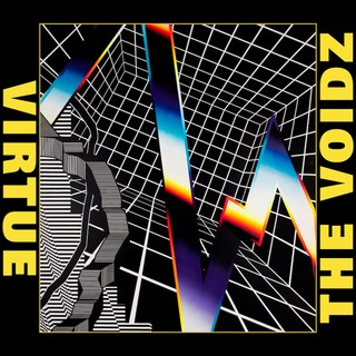 Virtue is written on the left side in yellow over a black border, along with The Voidz on the right side. The art is a digitally produced design with black and white lines, and a colorful streak through it