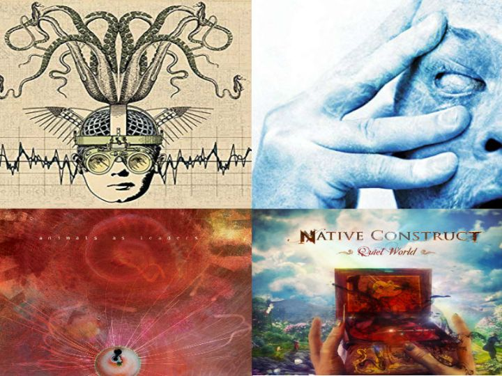 A mix of four album covers: Thank You Scientist's Stranger Heads Prevail, Porcupine Tree's In Absentia, Animals as Leaders's Joy in Motion, and Native Construct's Quiet World.