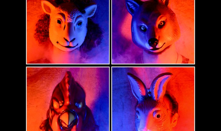 four panels of profile shots of the band members each wearing a different animal mask