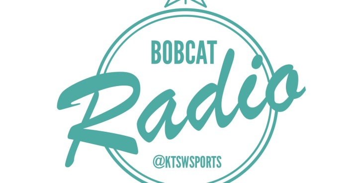 Bobcat radio @ktswsports spelled out in teal writing with white background