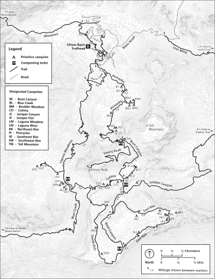a trail map of the South Rim