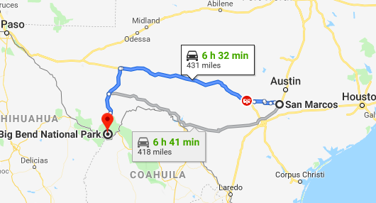 the route and time from San Marcos to Big Bend National Park in West Texas