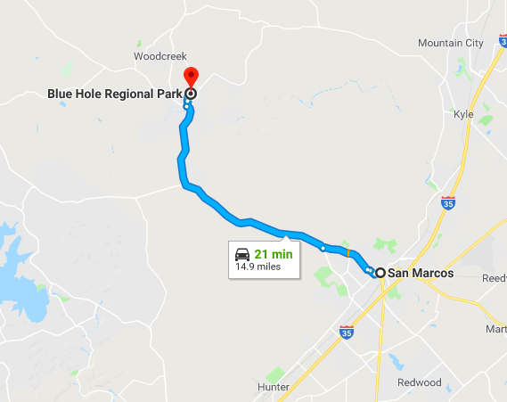directions and time from San Marcos to Blue Hole