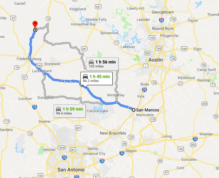 The route and time from San Marcos to Enchanted Rock