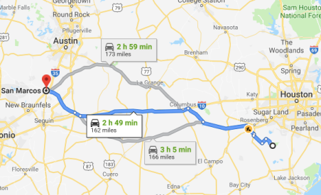 the route and time from San Marcos to Brazos Bend State Park