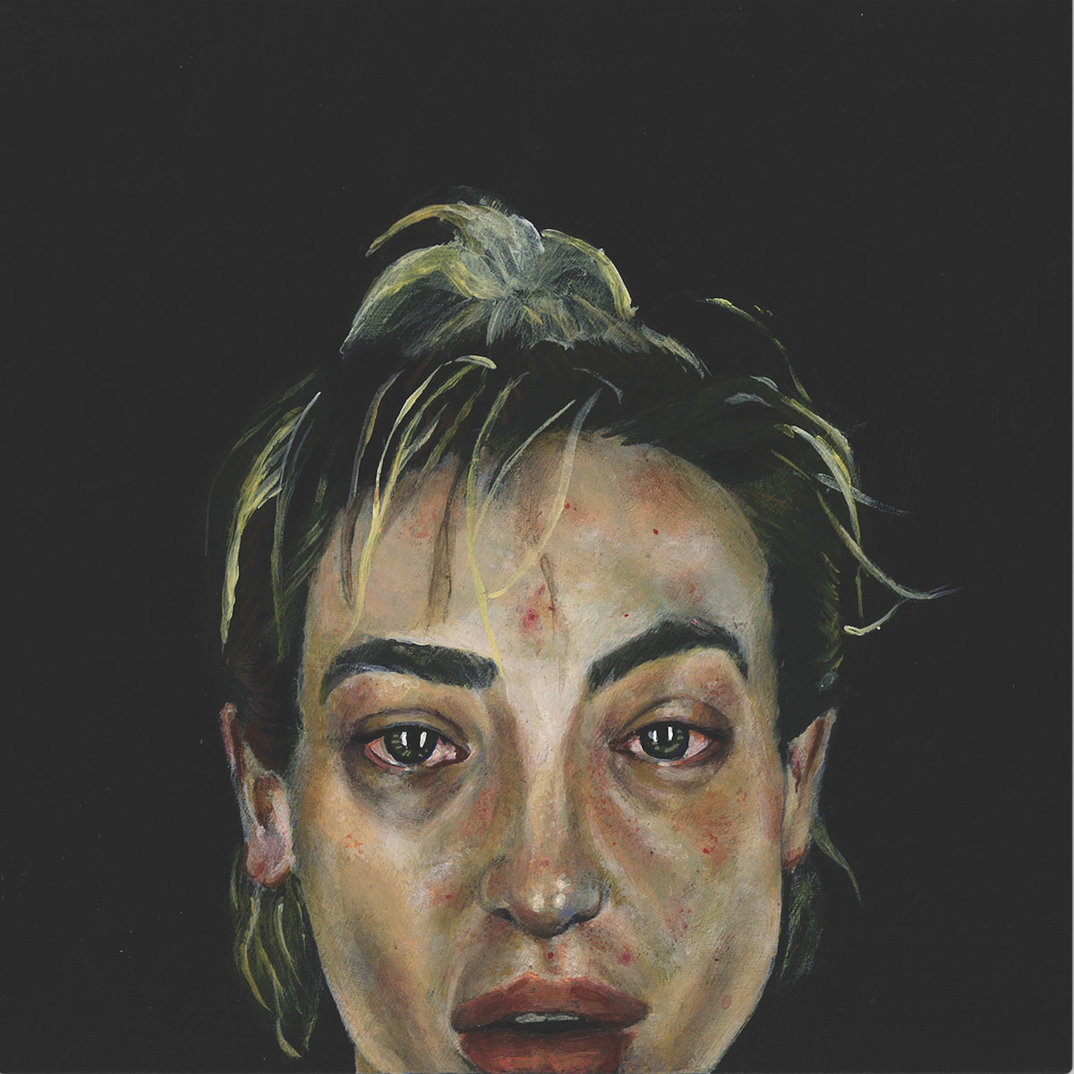 An oil painting of a dirty blonde woman with her hair in a ponytail in front of a black background. She seems to have been crying, with watery, red eyes.