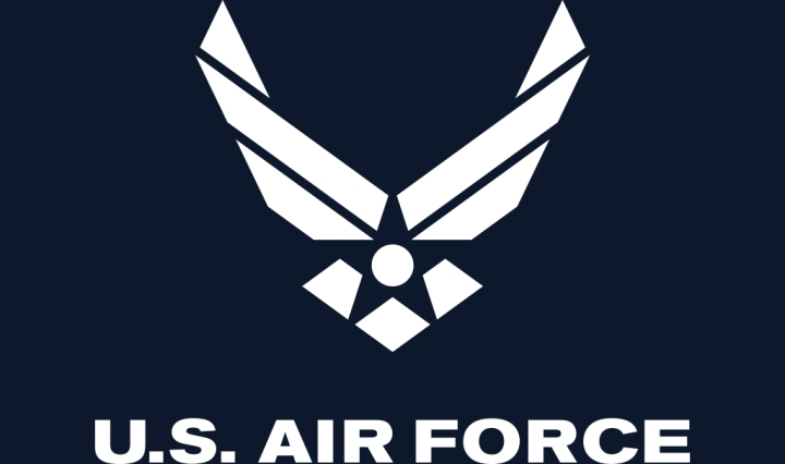 Airforce symbol on a dark navy blue background with the text 'U.S. Air Force'