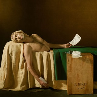 Andrew Bird is laying in a bathtub with a yellow cloth covering the bathtub and a green cloth covering a desk laid across the tub. In the front of the scene is a box that says A. Bird MFWY on it.