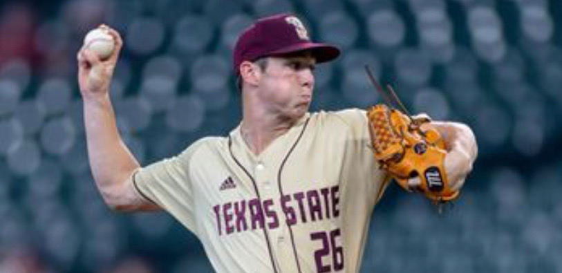 This photo was taken of Texas State starter Hunter McMahon throwing a fastball in the College Shriners Classic in Minute Maid Park