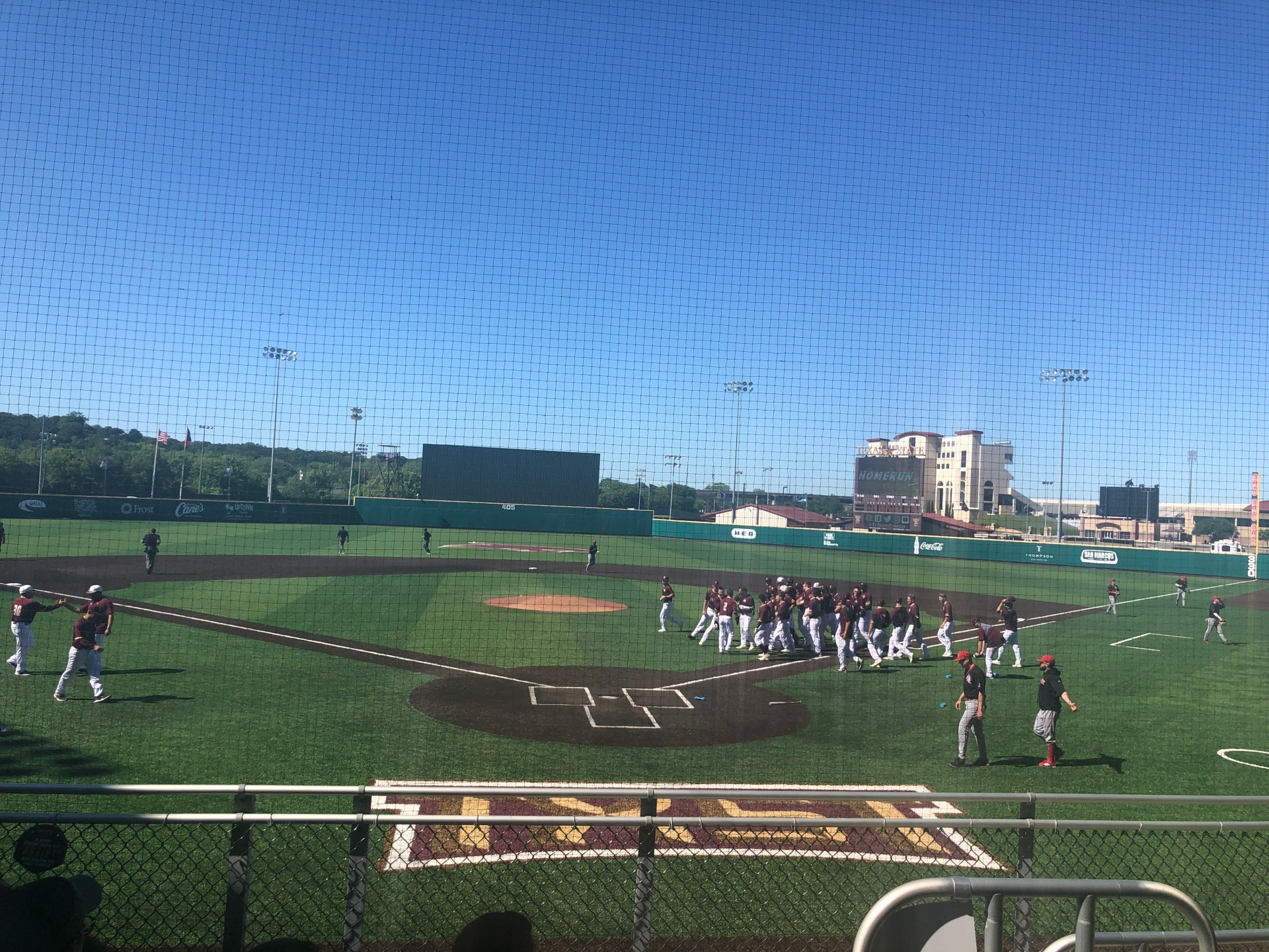 Texas State in team huddle