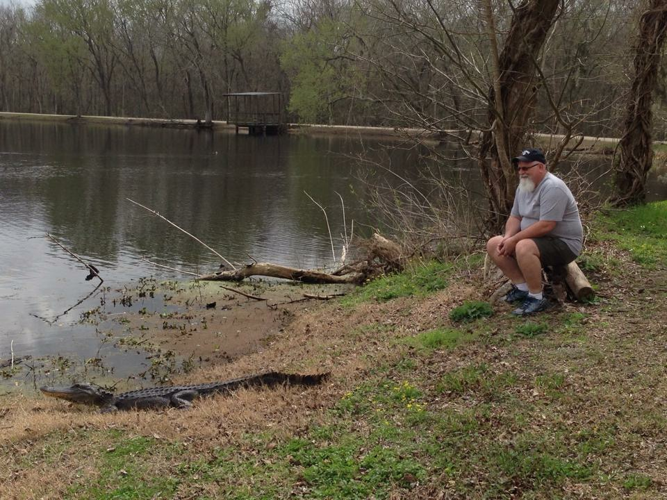 An older man with a white beard sitting on a log looking at an alligator a few feet in front of him along the edge of a pond.