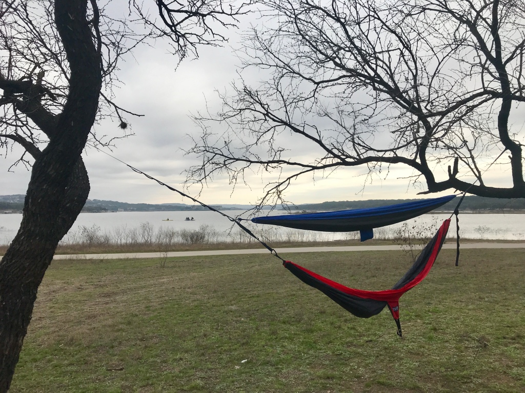 picture of 2 hammocks stacked in front of Lake travis