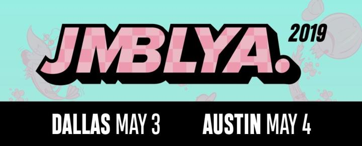 The image is a screenshot of the upper part of the official JMBLYA flier. It includes the 'JMBLYA.' logo in a jumbo typeface and pink checkered design. The year '2019' is to the right of the logo in a simple, black typeface. Below the logo is a black bar with 'DALLAS MAY 3' and 'AUSTIN MAY 4' printed in white.