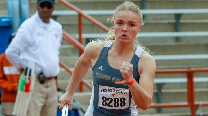 photo of blonde girl running a relay