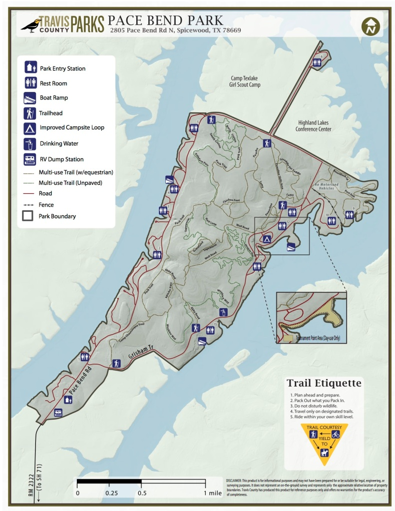 a trail map showing trails, roads, bathrooms, campsites, and boundaries at the park
