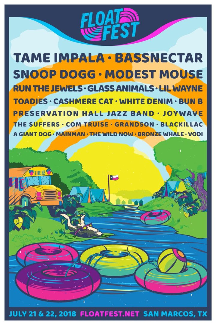 Colorful posters with an animated river listing all the bands performing.