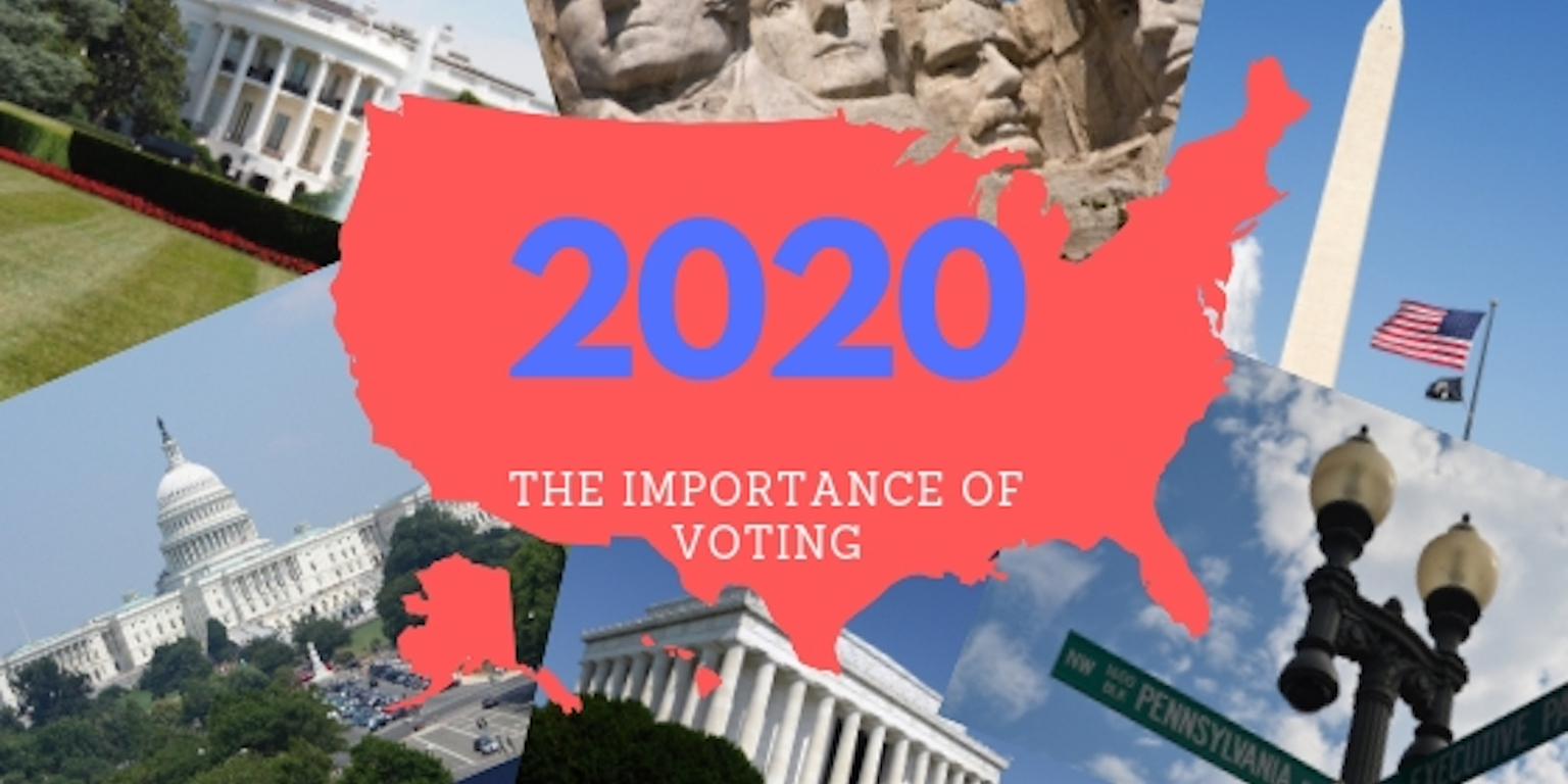 Photo collage of the white house, capital building, mt. rushmore, washington monument and the street sign for the white house. On top is a red filled-in outline of the United States.