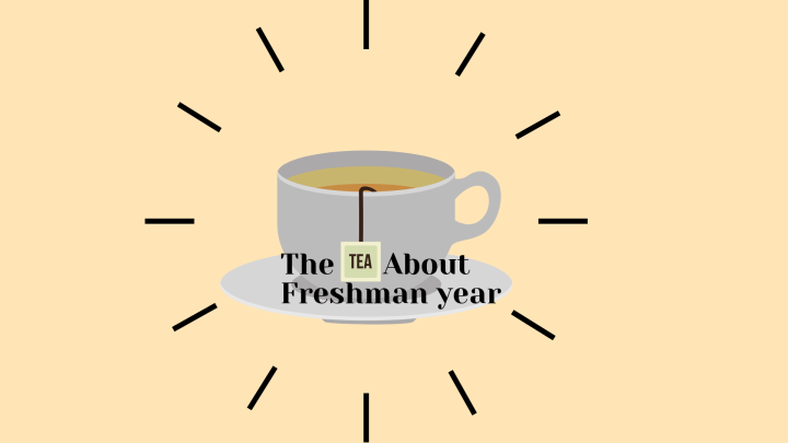 "A teacup with a teabag tag completing the sentence ""The tea about freshman year."""