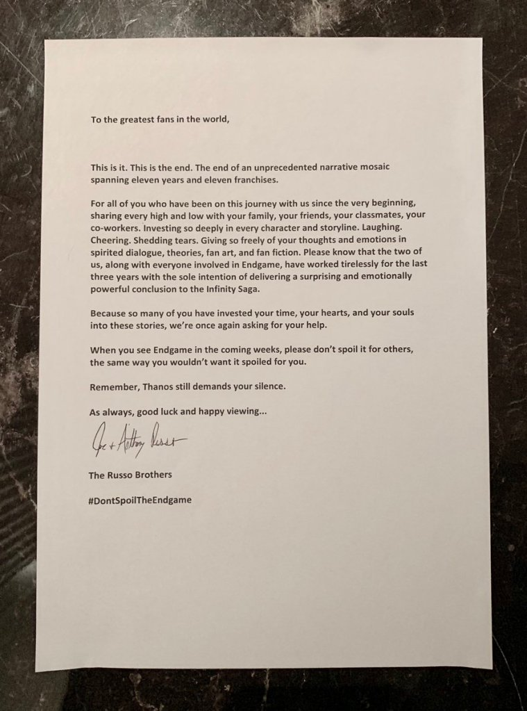 Statement telling fans not to ruin the movie for others and thank you for the journey.