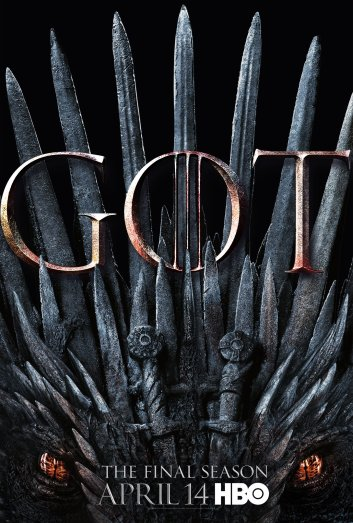 The Iron Throne made of swords with the bottom sections saying the final season.