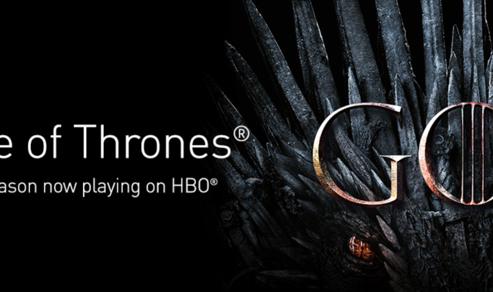 Game of Thrones logo on HBO and the iron throne in the background