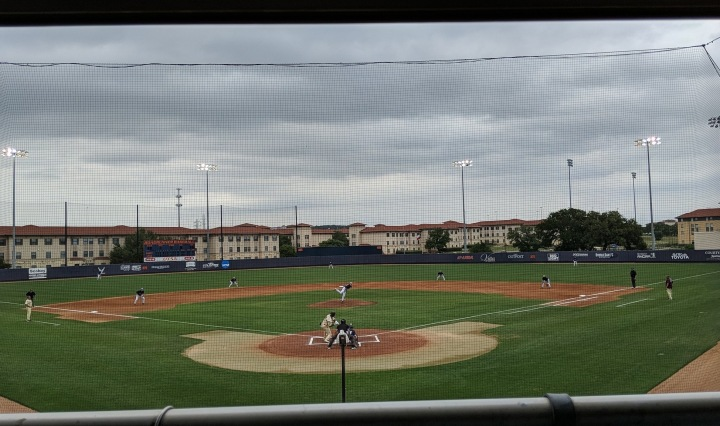 The first pitch in the UTSA vs. Texas State game.