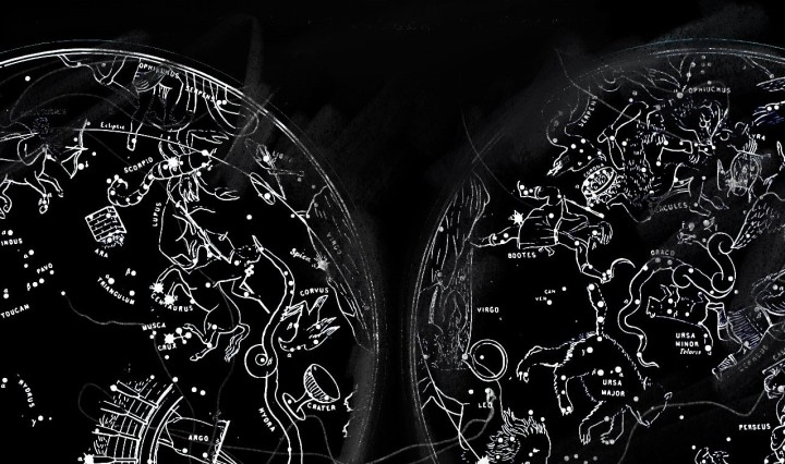 Black background with the constellations drawn within two circles.