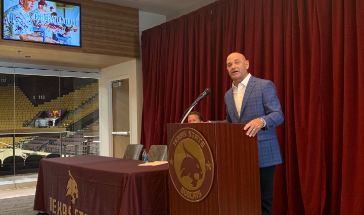 Texas State baseball head coach Ty Harrington reflects on his coaching career during his retirement press conference at Strahan Arena.