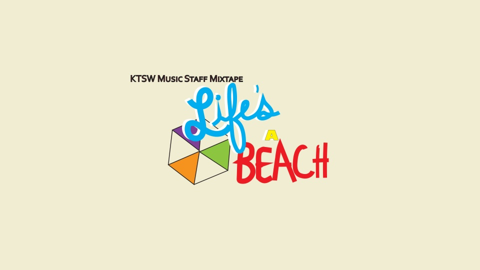 """A simplified umbrella with orange, purple, and green panels and the phrase """"Music Staff Mixtape: Life's A Beach"""" in blue, yellow and red text on a sandy-colored background."""